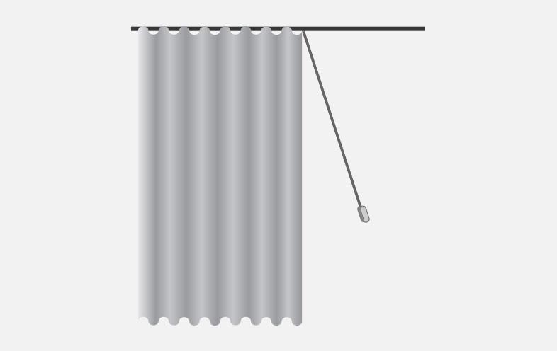 cord drawn curtains